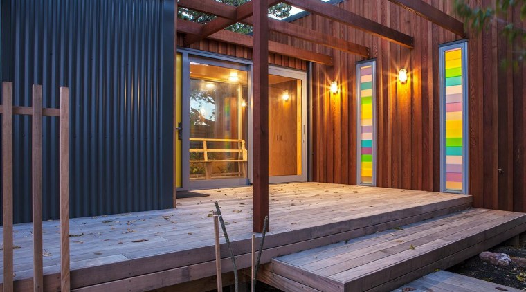 Cedar and metal cladding architecture, deck, house, shed, siding, wood, red, blue