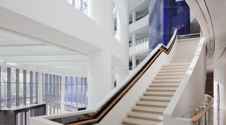 Icon Yuanduan Tower apartment, architecture, building, daylighting, handrail, interior design, product design, real estate, stairs, gray