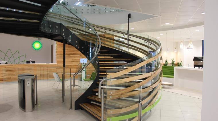 BP Head Office, NZ handrail, interior design, product design, stairs, gray