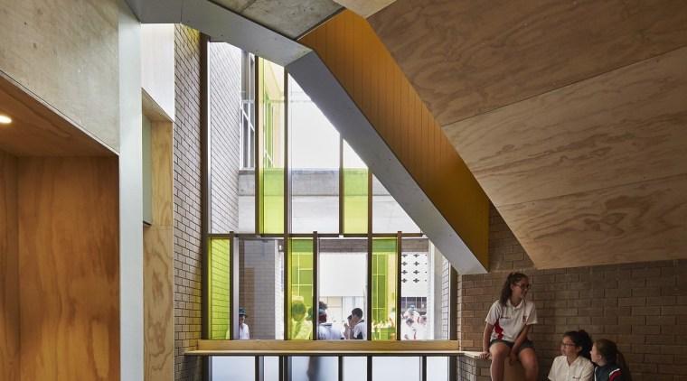 Bunbury Catholic College – Mercy Campus architecture, ceiling, daylighting, floor, house, interior design, lobby, wood, brown, gray