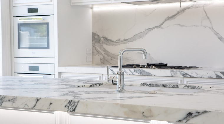 This new kitchen in a villa renovation features countertop, floor, flooring, interior design, kitchen, tap, tile, gray, white