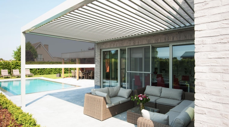 create your new favourite outdoor room with Louvretec architecture, daylighting, estate, house, real estate, roof, shade, white