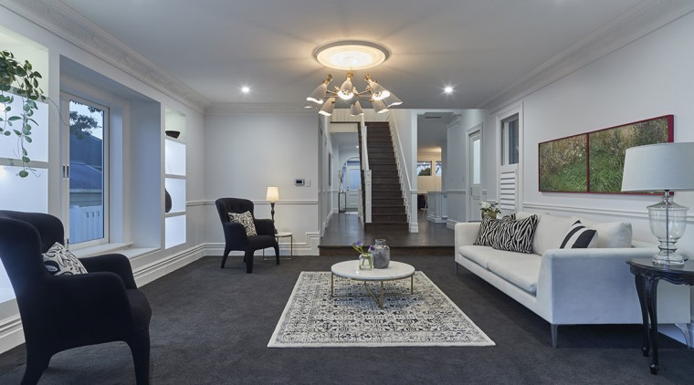 The new family room in this villa transformation ceiling, floor, home, interior design, living room, real estate, room, gray