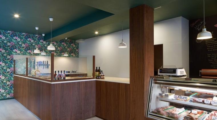 Wholesome Cuts Butcher Shop countertop, interior design, kitchen, gray, brown, black