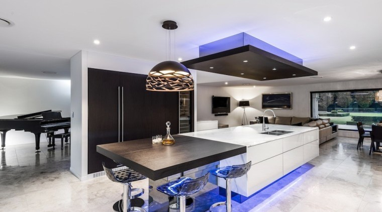 A focus on lighting – Kitchen by designer countertop, interior design, kitchen, property, real estate, white, gray