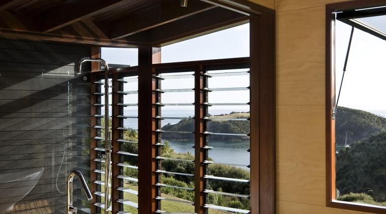 Waiheke Island, Auckland architecture, bathroom, daylighting, house, interior design, window, black, brown