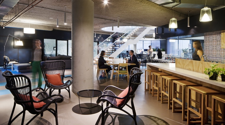 As workspaces become more flexible, ideas around optimal café, interior design, restaurant, black, gray