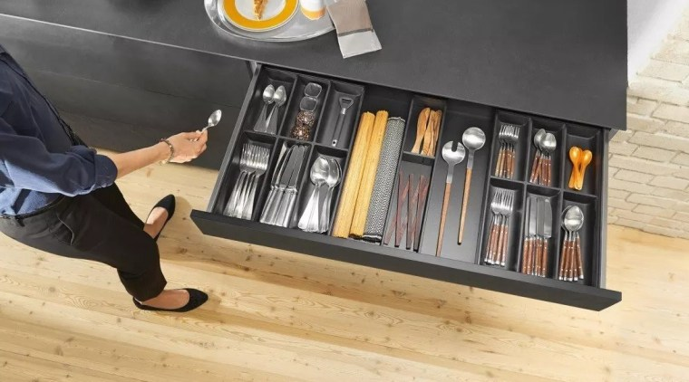 Slim, minimalist design and diverse setting options – floor, flooring, furniture, product, product design, shelf, shelving, table, wood, orange, black
