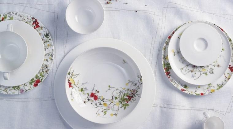 Fine China porcelain - Fleurs - ceramic | ceramic, dinnerware set, dishware, material, plate, platter, porcelain, saucer, serveware, tableware, gray