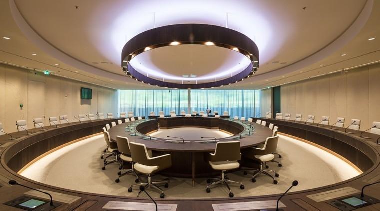 Eurojust auditorium, ceiling, conference hall, interior design, brown