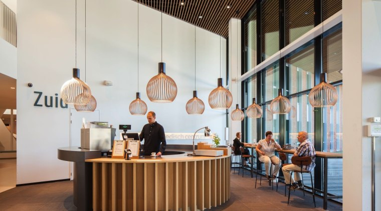 Zaans Medical Centre – Mecanoo furniture, interior design, lobby, table, gray