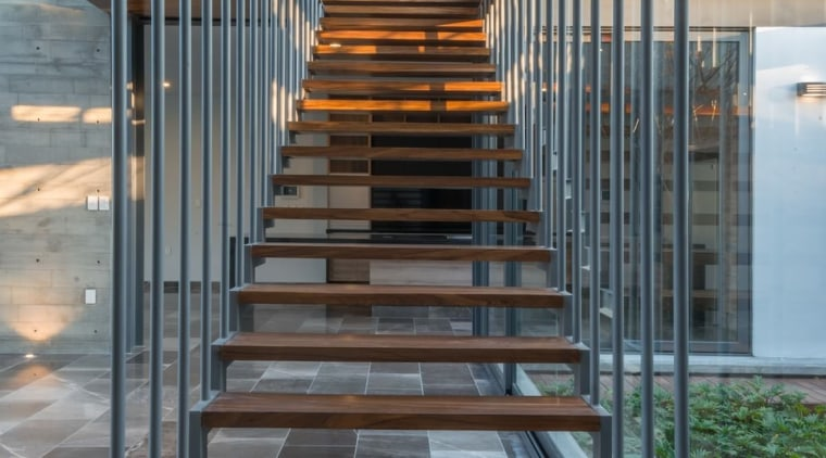 Colima home/Di Frenna Arquitectos architecture, daylighting, handrail, stairs, gray, black