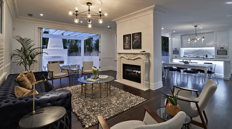 This reworked villa has a wealth of classic home, interior design, living room, real estate, room, gray