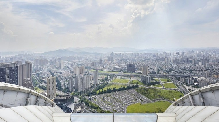 Raffles City Hangzhou – UNStudio bird's eye view, building, city, cityscape, cloud, daytime, haze, landmark, metropolis, metropolitan area, roof, sky, skyline, skyscraper, tower block, urban area, gray