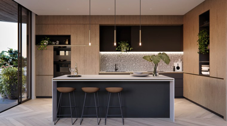 Treehouse at Parkside Walk – MJA Studio cabinetry, countertop, cuisine classique, furniture, interior design, kitchen, gray, black