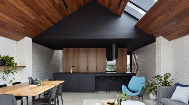 Looking back into the kitchen - Looking back architecture, ceiling, daylighting, house, interior design, living room, roof, gray, brown