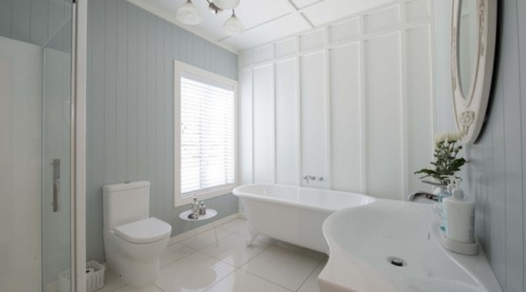Photo by Juliet Nicholas; design by David Wraight bathroom, floor, home, interior design, property, real estate, room, window, gray