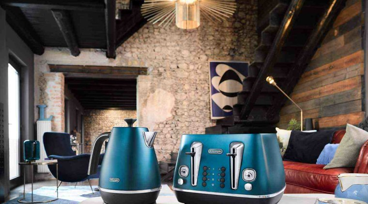 Delonghi Toasters pack in a number of excellent blue, home, interior design, small appliance, black