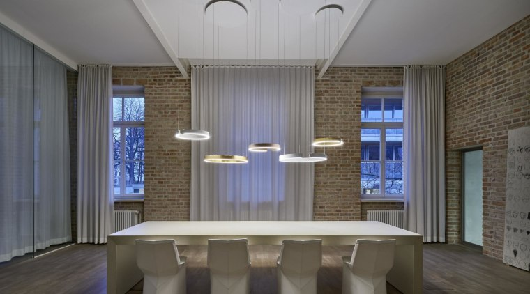 In the dining area you want it to architecture, ceiling, daylighting, estate, furniture, interior design, room, table, gray
