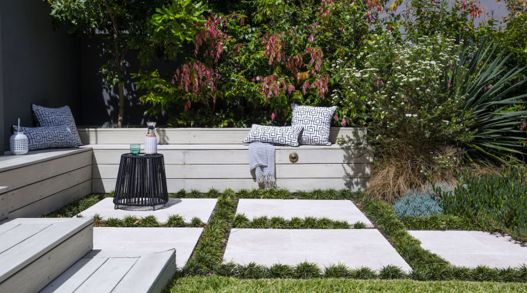 Garden Project By Landart Landscapes Photo By Jason backyard, courtyard, flora, flower, garden, grass, landscape, landscaping, outdoor structure, plant, tree, walkway, yard, brown