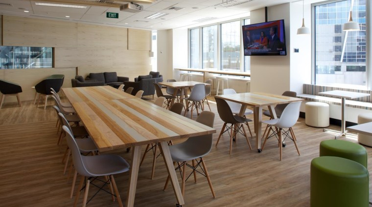The Nib office in the Vero Centre, Auckland, chair, conference hall, flooring, furniture, interior design, table, brown, gray