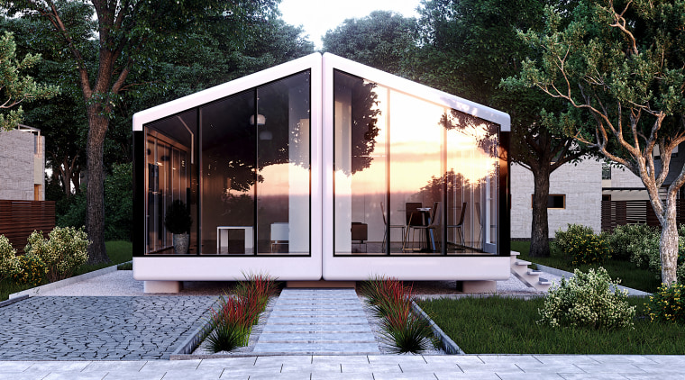 Fully autonomous, haus.me is powered entirely by solar architecture, building, cottage, estate, facade, home, house, interior design, property, real estate, residential area, roof, room, tree, black