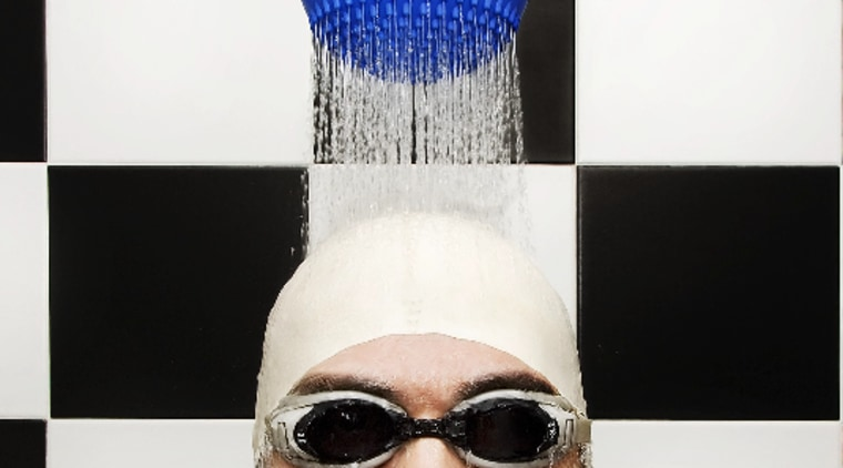 The DROP shower by IB Rubinetterie in action cap, eyewear, facial hair, glasses, goggles, headgear, sunglasses, vision care, white, black