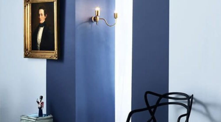 Colour blocking stops this doorway from being furniture, interior design, lamp, light fixture, table, white, blue