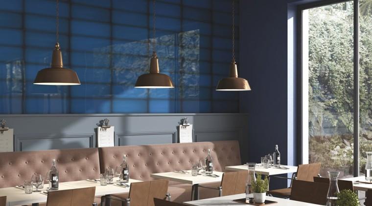 Slide Ocean 100x300 ceiling, interior design, light fixture, restaurant, table, black