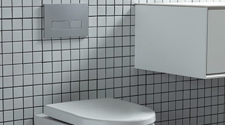 An in-wall cistern is the perfect accompaniment to floor, plumbing fixture, product, tile, toilet, gray