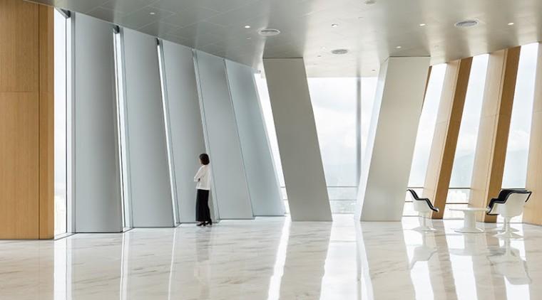 BIG's pleated skyscraper beats the heat - architecture architecture, ceiling, column, curtain, daylighting, floor, flooring, interior design, structure, textile, tourist attraction, window, window treatment, gray, white