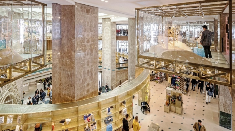 The top floor features a series of suspended architecture, building, interior design, lobby, shopping mall, gray, brown