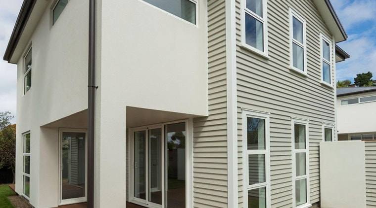 Adjoining roughcast sections on townhouse - architecture | architecture, building, cottage, elevation, facade, home, house, property, real estate, residential area, siding, window, gray, brown