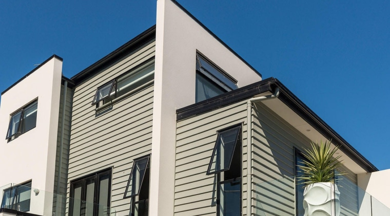 Envira bevel-back weatherboards on city apartment - architecture architecture, building, commercial building, elevation, facade, home, house, property, real estate, residential area, roof, siding, window, blue, white