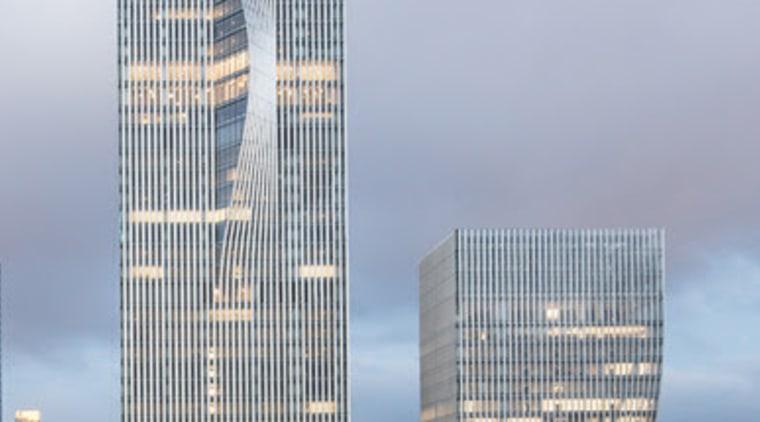 BIG's pleated skyscraper beats the heat - architecture architecture, building, city, cityscape, commercial building, condominium, corporate headquarters, daytime, downtown, facade, headquarters, landmark, metropolis, metropolitan area, mixed use, reflection, sky, skyline, skyscraper, tower, tower block, urban area, gray