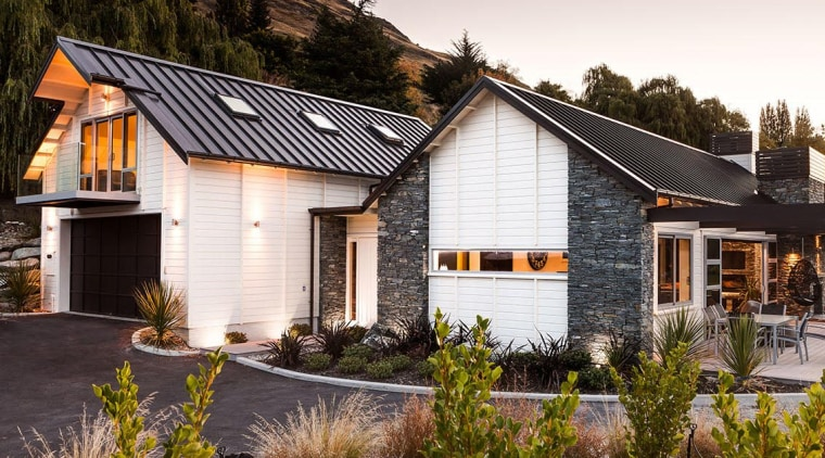Natural schist and timber weatherboards on Queenstown home cottage, estate, farmhouse, home, house, property, real estate, residential area, roof, siding, window, white, brown, black