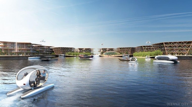Residents of Oceanix can easily walk or boat boat, boating, canal, channel, lake, leisure, property, real estate, recreation, river, sea, sky, tourism, vacation, vehicle, water, water resources, water transportation, watercraft, waterway, yacht, white