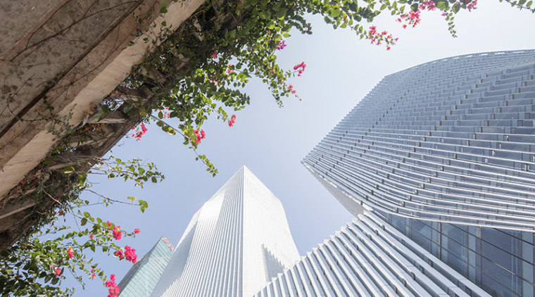 BIG's pleated skyscraper beats the heat - architecture architecture, building, daytime, facade, flower, landmark, leaf, line, roof, sky, tree, gray