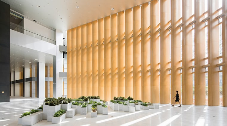 BIG's pleated skyscraper beats the heat - architecture architecture, ceiling, daylighting, facade, interior design, lobby, structure, wall, white, orange