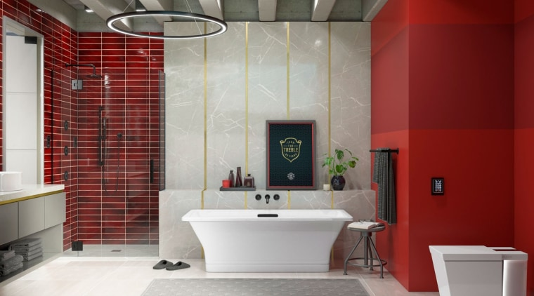 Mahogany Ann SacksCrackle Collection tilepaired with matte architecture, bathroom, bathtub, building, ceiling, floor, flooring, home, house, interior design, material property, plumbing fixture, property, red, room, tile, toilet, red, gray
