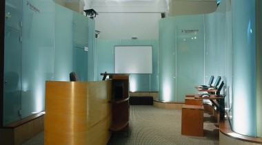 view of the curved glass display that was ceiling, floor, flooring, interior design, lobby, office, gray