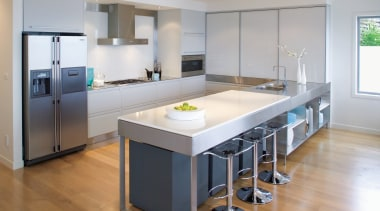 A view of this Kitchen designed by Fyfe countertop, cuisine classique, floor, flooring, interior design, kitchen, real estate, room, gray
