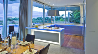 The lighting can be programmed to change colours interior design, real estate, window, gray, teal