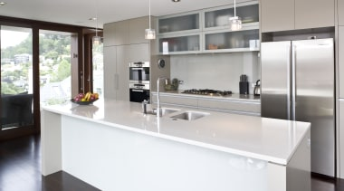 Image of kitchen designed by Rob Hendrickx for cabinetry, countertop, cuisine classique, interior design, kitchen, real estate, gray, white