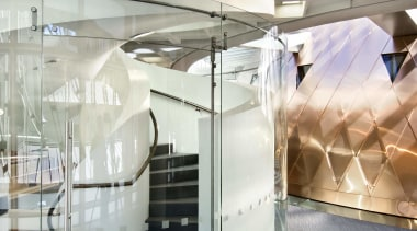 View of an internal stairway at the Supreme ceiling, interior design, product design, gray