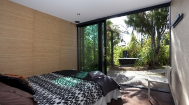 Designed by Chris Tate of Chris Tate Architecture, bedroom, estate, home, house, interior design, property, real estate, room, window, gray