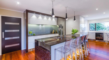 Contemporary kitchen renovation with Antique Brown granite island countertop, estate, hardwood, home, interior design, kitchen, property, real estate, room, gray