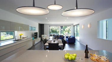 White Poggenpohl kitchen with Silestone island benchtop and ceiling, interior design, gray