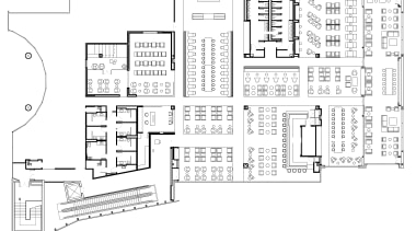 This floorplan of the spacious new Air New architecture, area, black and white, design, diagram, drawing, floor plan, font, line, line art, plan, product, product design, structure, technical drawing, text, white