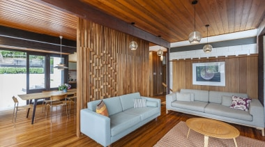 A veneer heart rimu dividing screen is a architecture, ceiling, estate, floor, hardwood, house, interior design, living room, real estate, room, suite, wood, wood flooring, brown